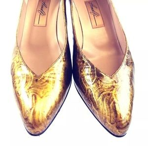 Shoes - Amalfi Women's ShoesOlivia Gold Leather Italy Heel
